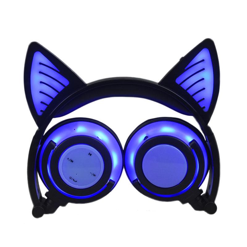 Tốt nhất-bán Mèo Con Mèo Tai Tai nghe Không Dây Màu Xanh răng Tai Nghe Với Mic