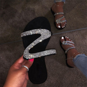 Summer Women Sandals Sliver Crystal Shiny Slip-On Cut Out Ladies Flat Sandals Outdoor Holiday Slides