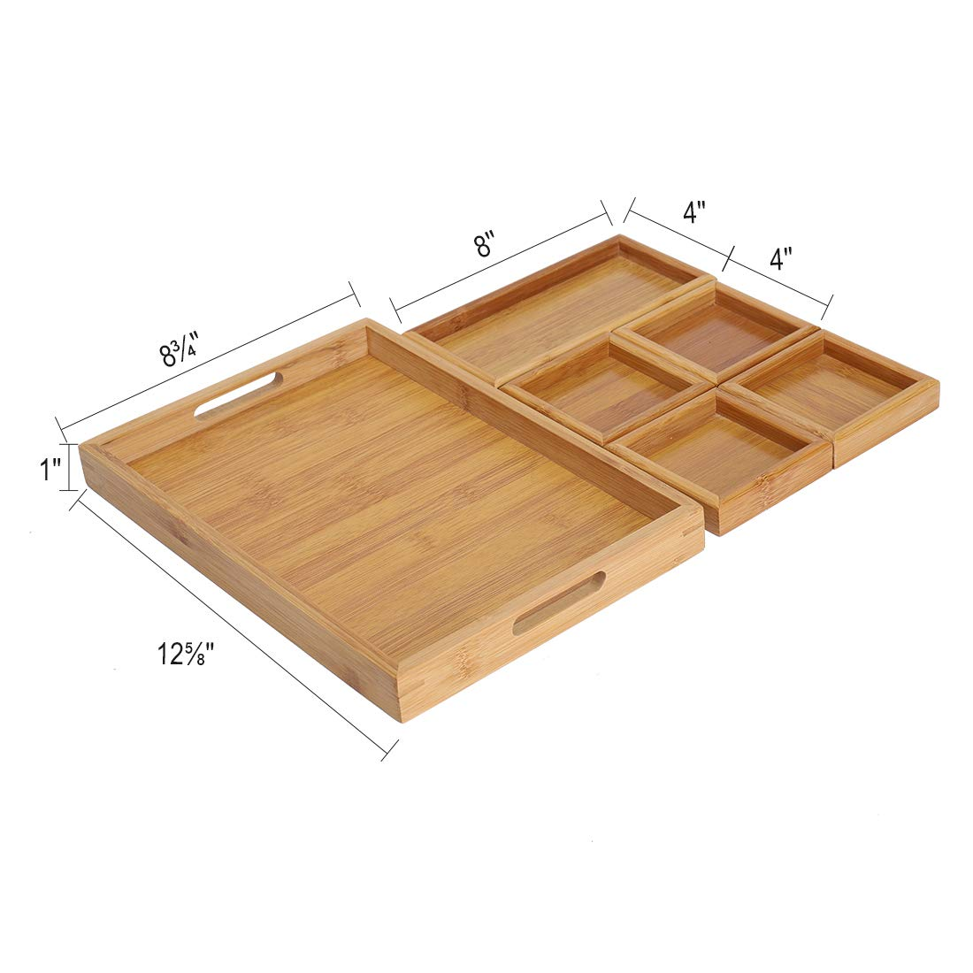 Large Nesting Bamboo Decorative Serving Trays with Cutout Handles & Coasters