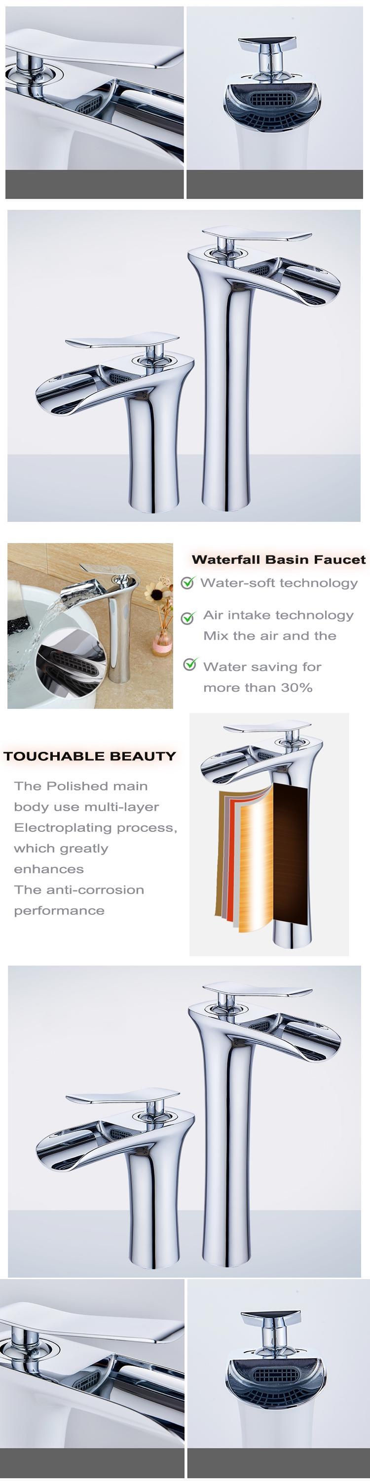 High Quality Waterfall White and Chrome Basin Faucet Mixer Tap