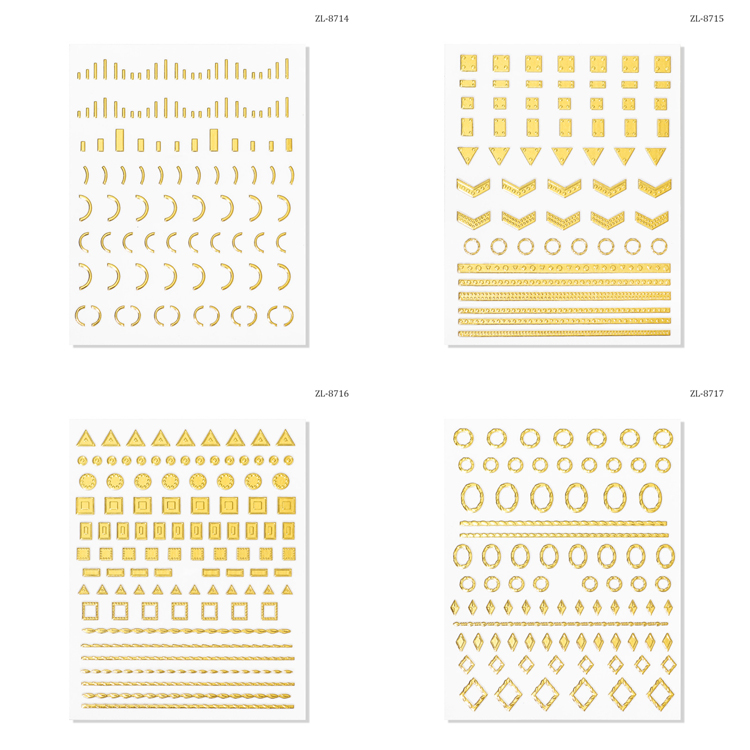 Mixed thousands patterns nail art DIY metallic self adhesive nail art stickers 3d gold nail stickers