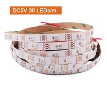 144 светодиодный Светодиодный светильник RGB 5050 SMD водонепроницаемый 5 В DC WS2812B 30 светодиодный 60 светодиодный гибкий светодиодный ленточный св...(Китай)