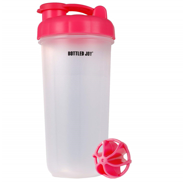 Custom Bulk 600ml 20oz No Minimum Pink BPA Free Clear PP Plastic Sport Gym Fitness Shaker Protein Water Bottle With Mix Ball