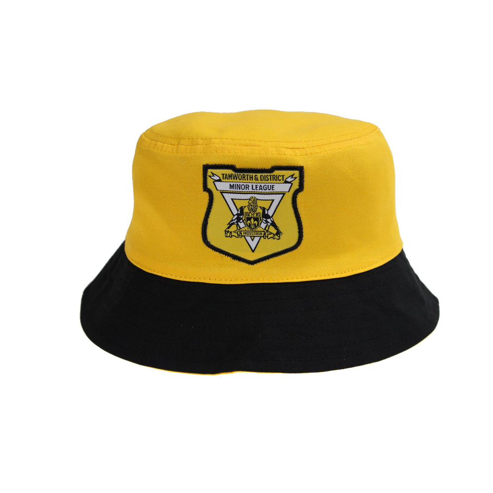 black and yellow reversible bucket hat  for men with embroidery patch