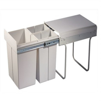 inserting plastic waste bin for kitchen cabinet