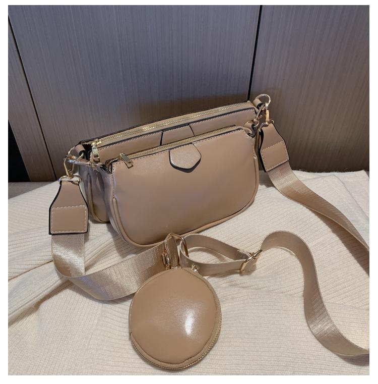 Модная однотонная сумка-мессенджер из искусственной кожи на плечо, повседневные сумки через плечо, женские сумки, сумка, 3 комплекта, вечерн...(Китай)