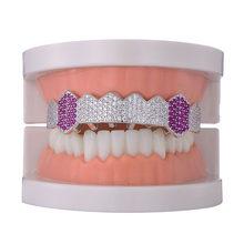 Хип-хоп Iced Out микро проложить Полный CZ зубы Grillz дно очарование грили для мужчин женщин мужчин ювелирные изделия золотой цвет(Китай)