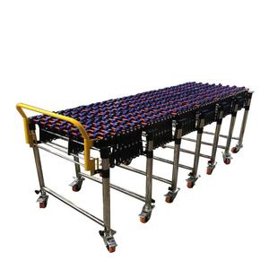 Gravity Flexible Skate wheel Conveyor Stainless steel support leg Telescopic Roller Conveyor without Power