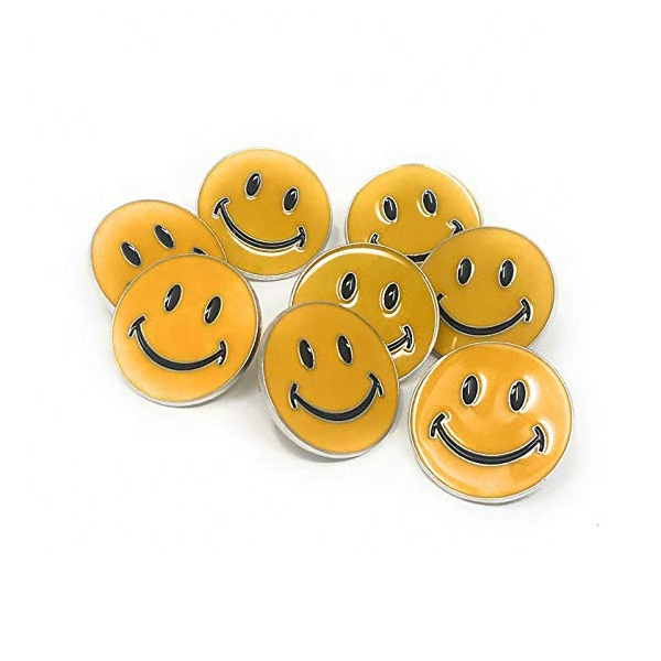 Enamel Custom logo Happy Smiley Face Pin Badges