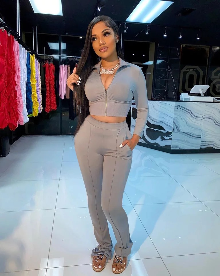 2021 wholesale fall clothing for women long sleeve casual stacked pants two piece set women clothing