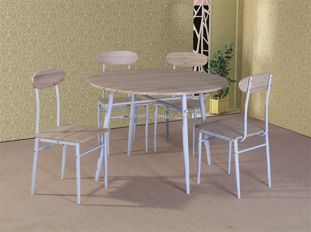 Round Wood Top Dining Table and Chairs Set
