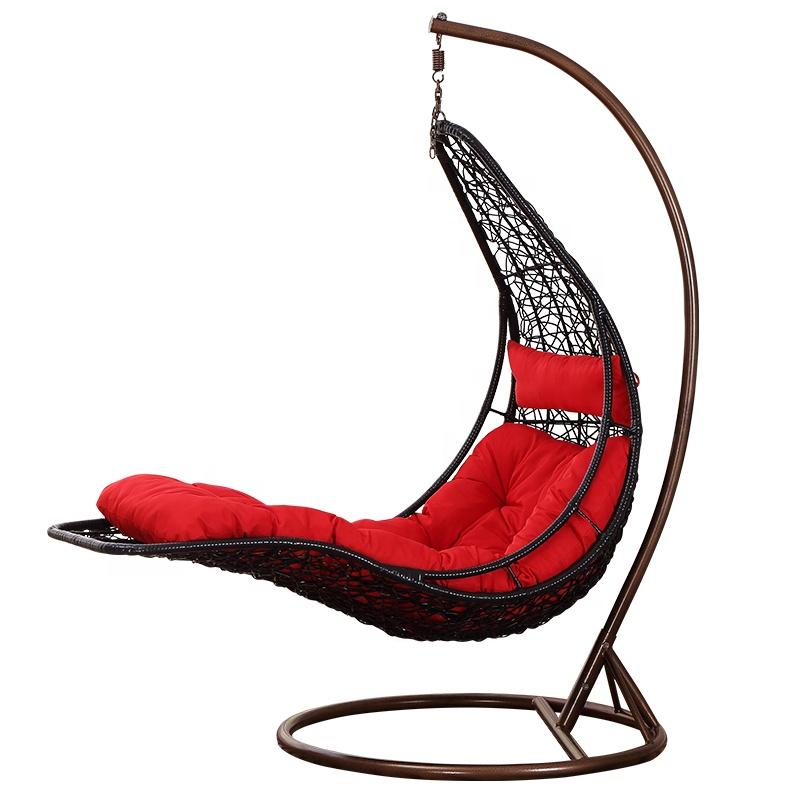 पीई रतन एकल स्विंग कुर्सी उद्यान आँगन धातु फांसी कुर्सी आउटडोर फर्नीचर
