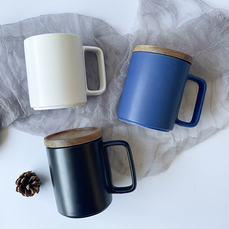 Nordic style matte ceramic mugs with logo christmas mug coffee tumbler cup black white and blue ceramic cup with gift package