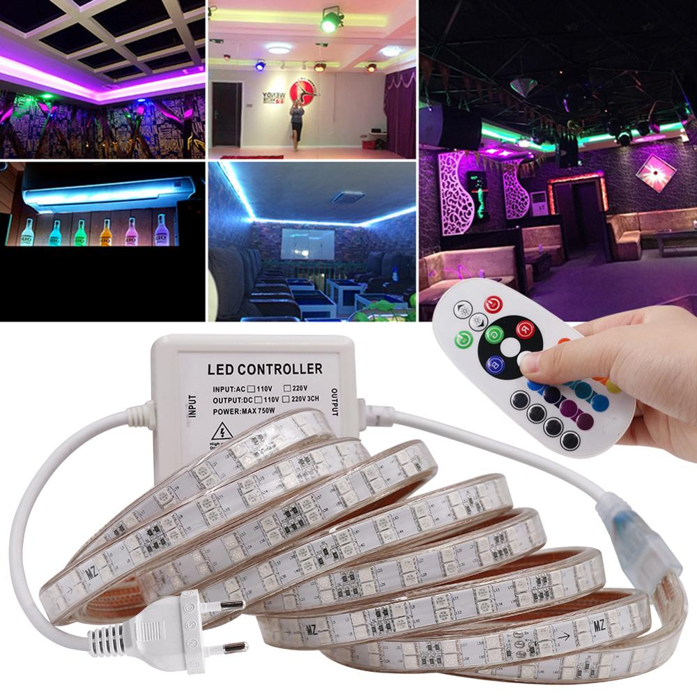 240 V 110 V 220 V 5050 RGB PVC Tahan Air Lampu LED Neon Flex Lampu Strip