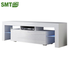 Modern Tv stand cabinet high gloss melamine MDF Particleboard hot sale with LED light living room furniture