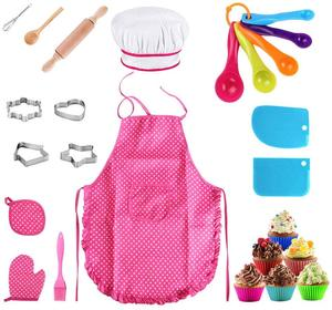 25Pcs Chef Set for Kids Kitchen Cooking and Baking Kits Dress Up Role Play Toys Apron Chef Hat Oven Mitt Wooden Spoon Coo