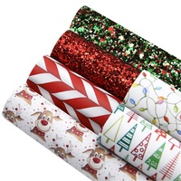 6pcs/set Custom Christmas Designs Printed Faux Leather Cut to Piece 91572