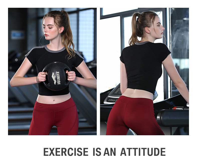 Wholesale New Design 4 Kinds Contrast Colors Tight Gym Clothing Sports T Shirt For Girls And Women 8