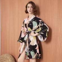 Женское хлопковое кимоно, халат с цветочным принтом, атласное нижнее белье, большие размеры, 2020(Китай)