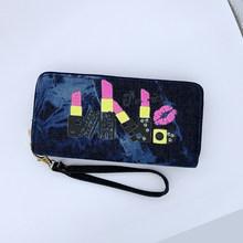 Кошелек для телефона, женские бумажники, джинсовый большой женский бренд, длинные женские кошельки в стиле ретро, клатч для карт, двойной ко...(Китай)