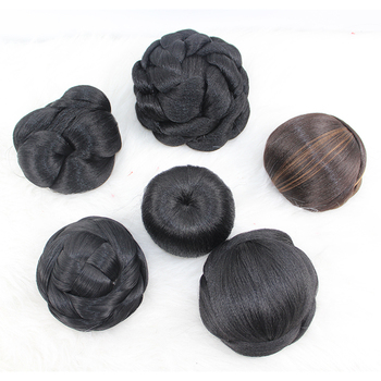 Manufacturer's price synthetic hair extension low temperature fiber chignon hair bun for African black woman