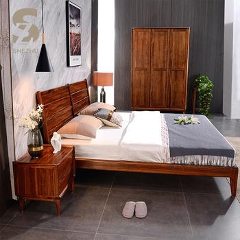 Simple Design Home Bedroom Furniture Comfortable Wooden Bed Zebra