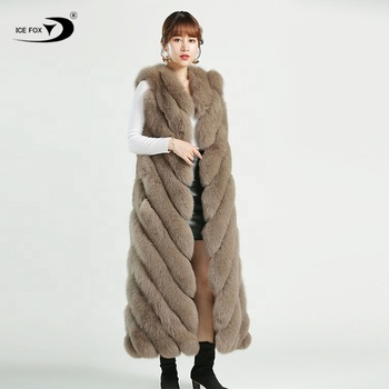 2019 Factory wholesale high quality women winter fashion long fur vest waistcoat for women