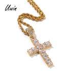 Iced Out Baguette Cross Pendant Mens Women Gothic Charm Square CZ Hip Hop Cross Bling Pendant