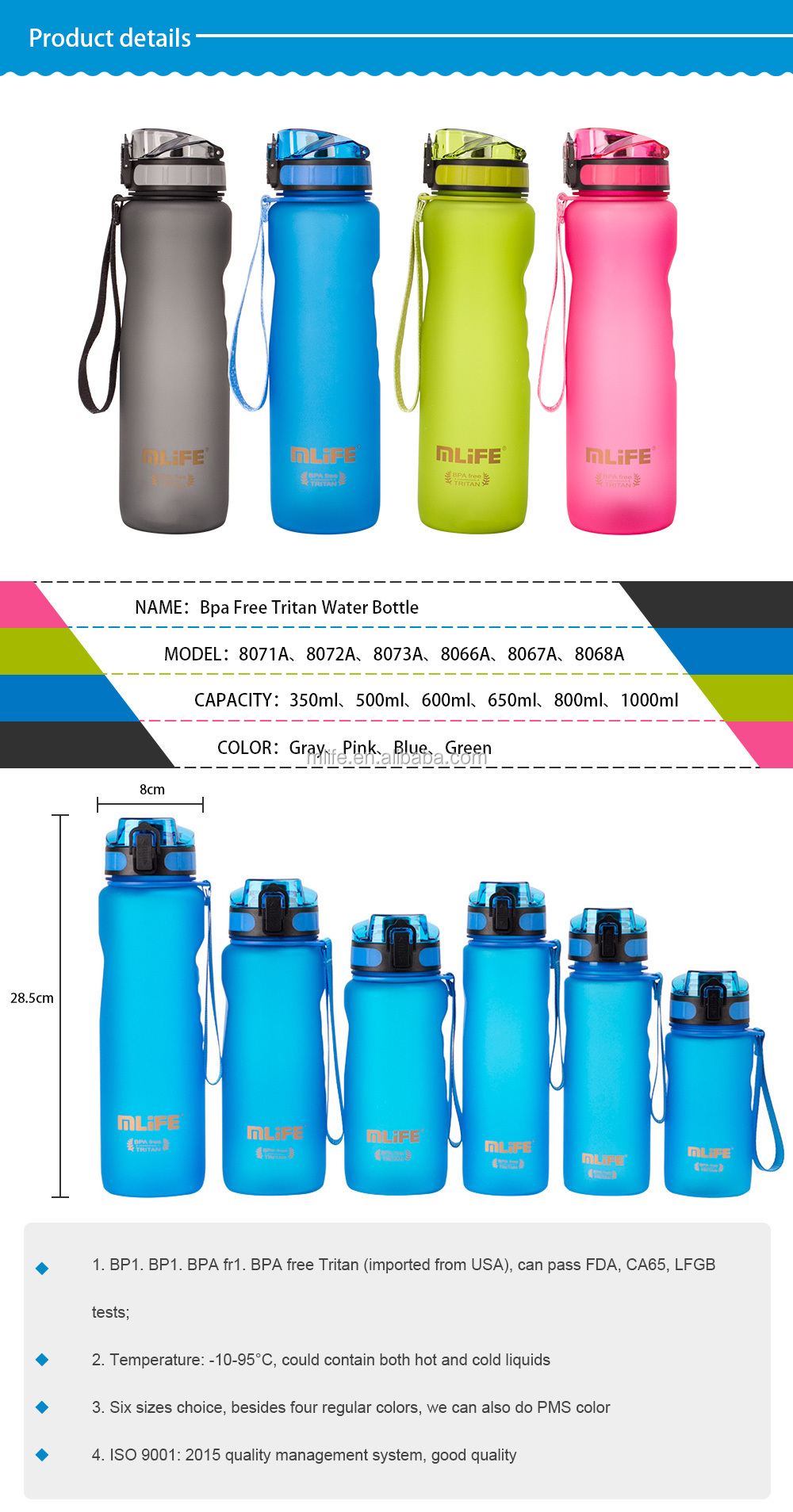 Pink 500ml Tritan Plastic Custom Kids Water Bottle BPA Free