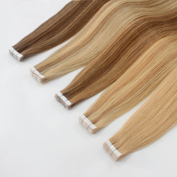 Double drawn thick ends European remy hair 100 % human tape on hair extensions