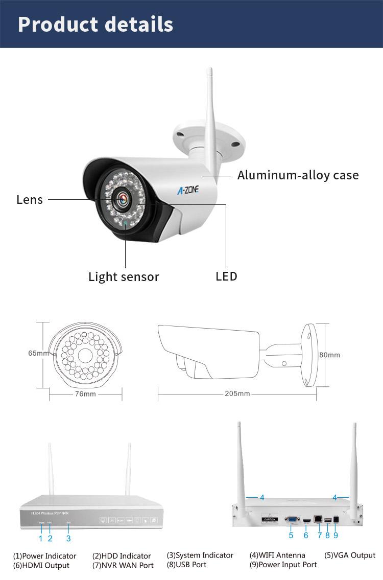 新 2019 720P 1080 1080P 2.0MP CCTV セキュリティ 4 チャンネル Wifi 監視 1.0MP 4 Ch Nvr キット 4 ミニカメラ