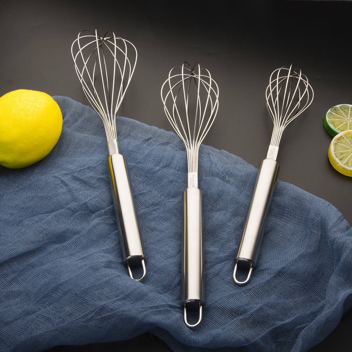 Wire whisk flat egg beater stainless steel hand