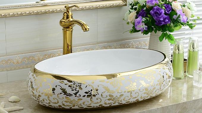 מכירה לוהטת אגן KD-03GBA אסיה זהב דפוס אמבטיה כיור סגלגל כביסה יד קערה