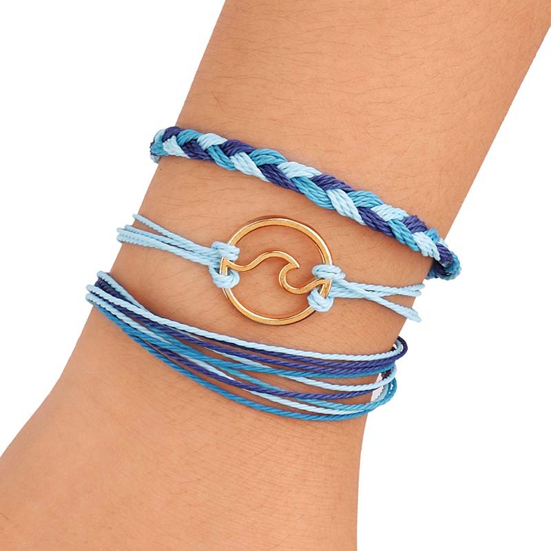 Best Saling Fashion Handmade Weave Colorful Wax Cotton Rope Wave Circle Knot Tassel Adjustable Bracelet