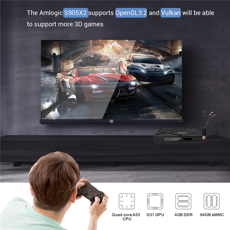 Latest technology Smart Pendoo X10 Max S905X2 ram 4gb ultra hd 4k HDR+ android 9.0 tv box quad core
