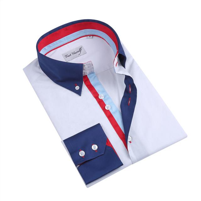 Herren Lang Kleid Hemd Kontrast Paspelierung ohne Kragen Freizeit Formell Enge