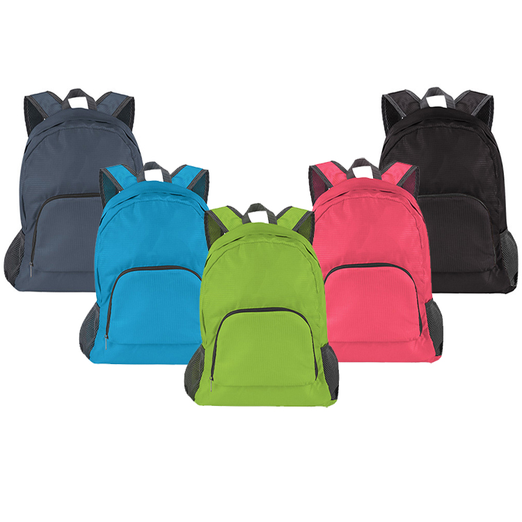 Nylon Polyester 210D 190T 420D sport leisure foldable backpack with zipper