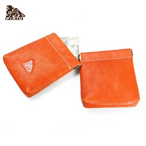Classic design top grain leather coin purse mini custom wallet for man and women