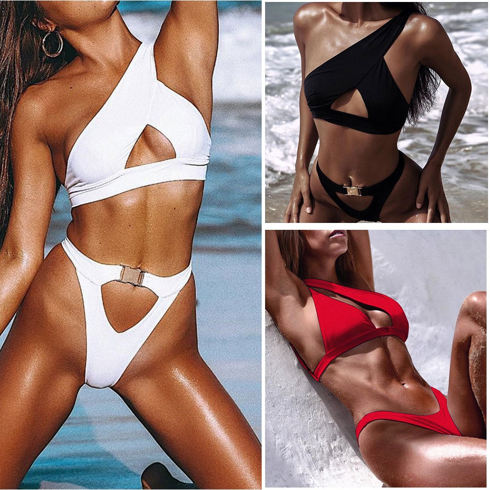 One shoulder bikini 2019 Buckle high cut swimsuit Sexy thong bikini Hollow out bathing suit White push up <strong>swimwear</strong> <strong>women</strong>