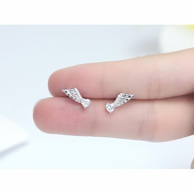 RINNTIN SE313 Angel wings earrings customized jewellery 925 sterling silver fashion initial earrings for women