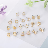 2019 Cheap jewels kinds of geometric gold color earrings rabbit plant animal stud earrings for men women