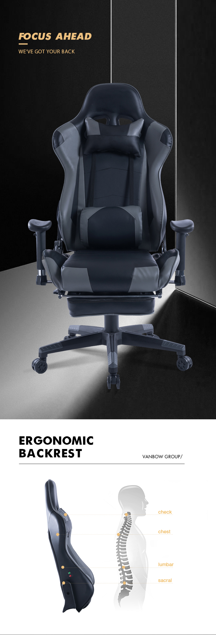 8204 Grey PVC Leather Racing Style Office Gaming Chair USA Stock Silla Gamer