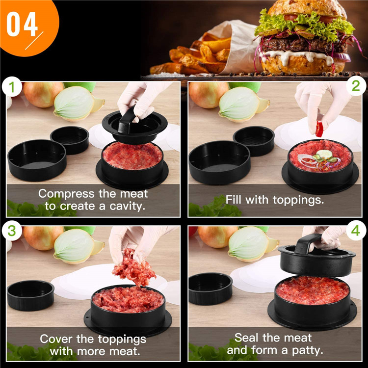 Plastic Burger Press 3 in 1 Hamburger Press Patty Maker with 100ps Burger Paper for BBQ