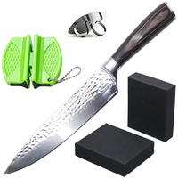 Amazon best seller Damascus Chef Knife,2 stage mini knife sharpener,Stainless Steel Metal Finger Hand Protector Guard tool set