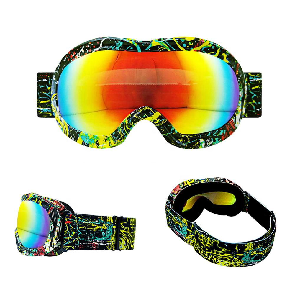 3 Color Kids Outdoor sports glasses child water transfer printing frame spherical lens Anti-fog   Ski Goggles
