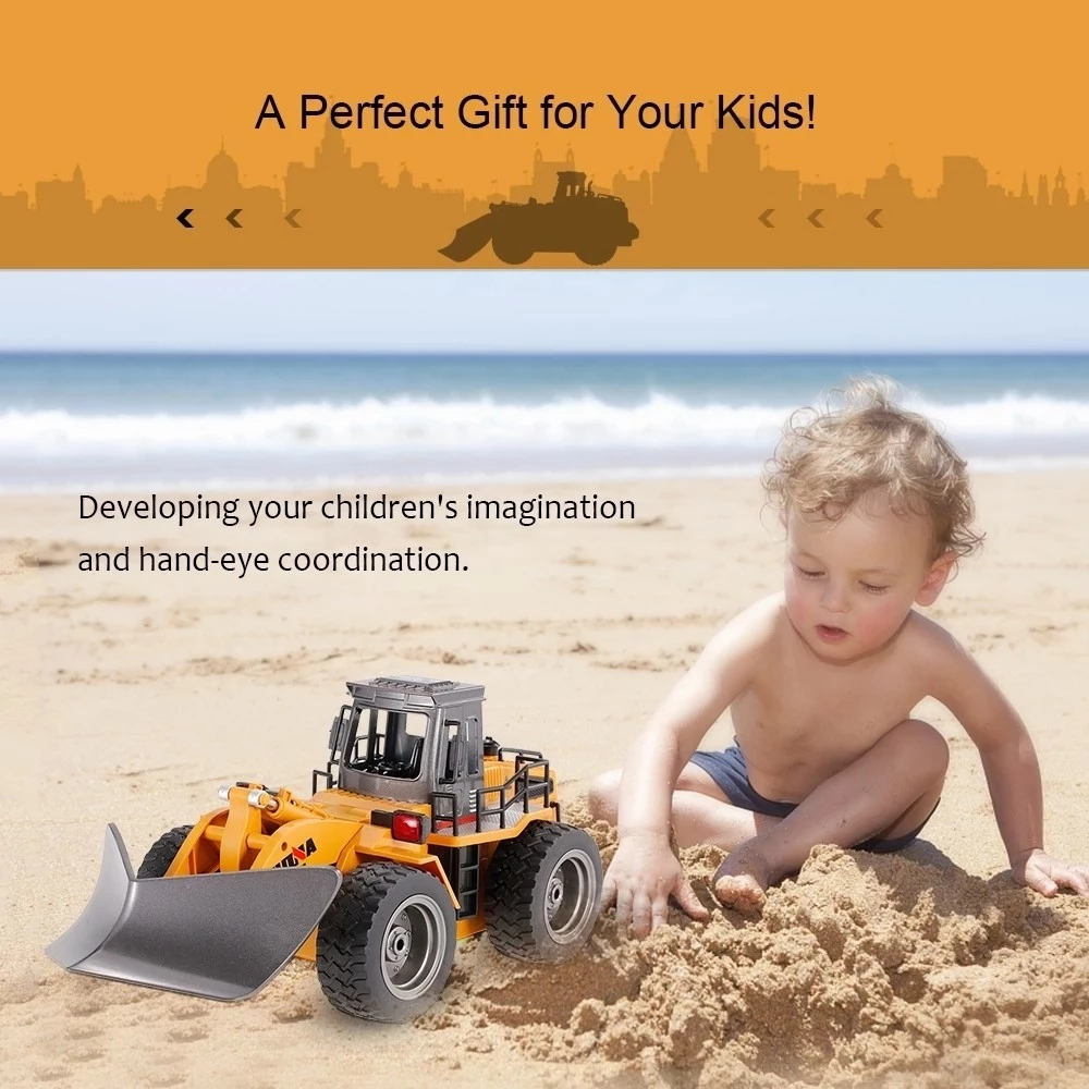 Newest Huina 1586 1/18 6CH 2.4Ghz Front Loader RC Remote Control Construction Toy Tractor Snow Clearer with Light Sound