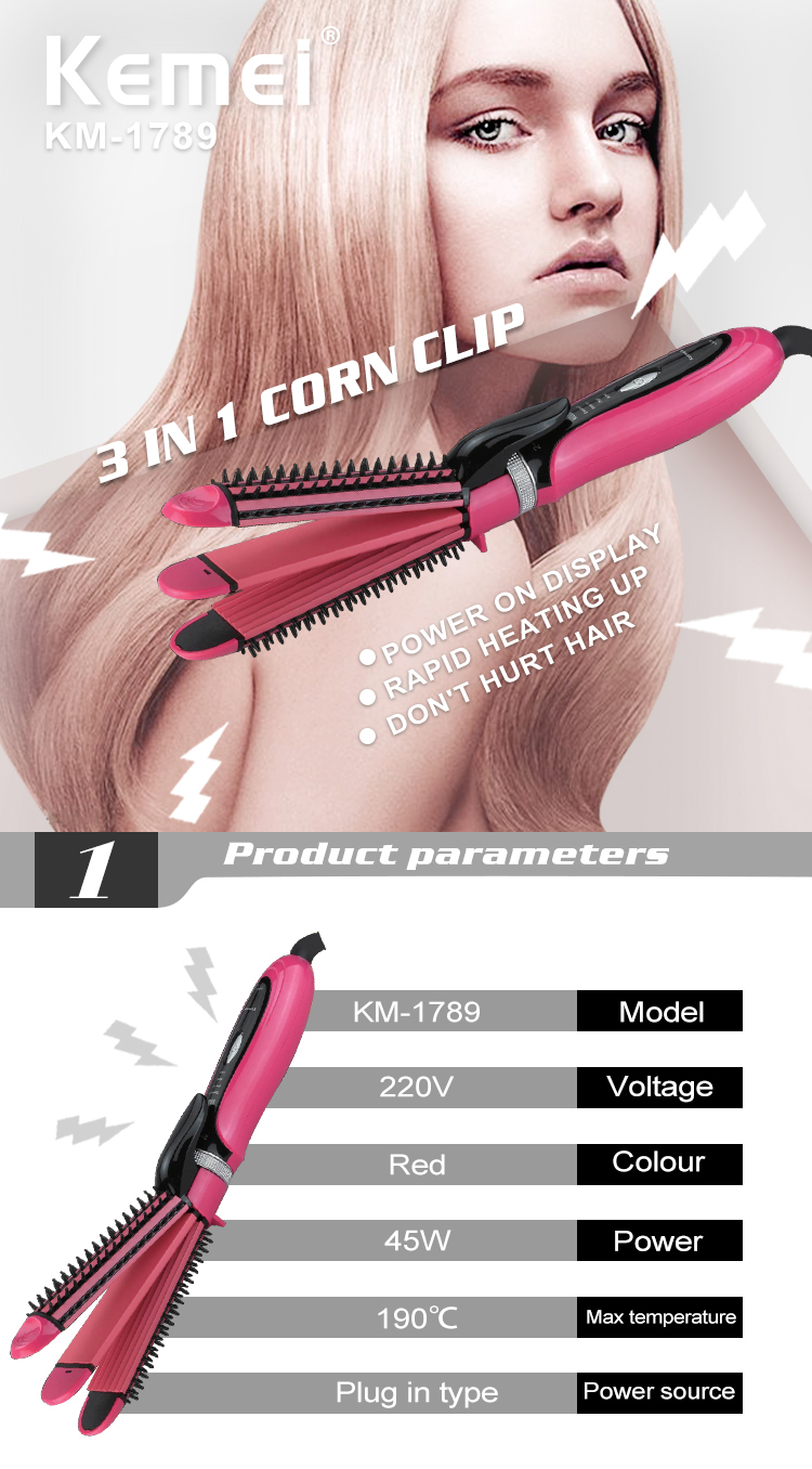 KM-1789 3 In1 Ceramic Electric Hair Curler Hair Straightening Irons Big Wave Corn Wand Crimper Dry Wet Hair Styler Tools
