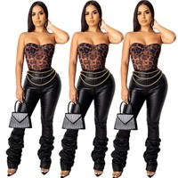 B51223A New design women casual fashion hot selling tight PU pants