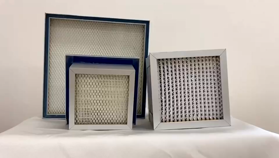 China Manufacturers Laminar Flow Hood 99.999% Absolute Deep Or Mini Pleated Box Filter HEPA And ULPA Filters For Cleaning Room