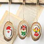 Natural wood santa claus deer hanging decoration christmas tree a perfect gift for your family and friends for christmas